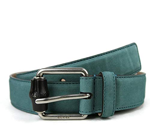 Gucci Men's Leather/Suede Bamboo Buckle Belt 336827 (95/38, Teal Suede)