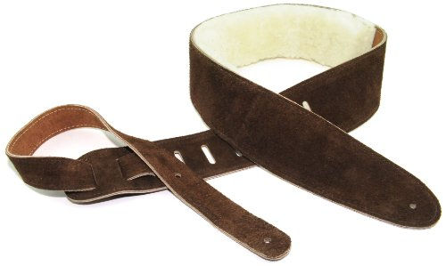 Perris Leathers DL325S-201 2.5-Inch Soft Suede Guitar Strap with Sheep Skin Pad,Brown