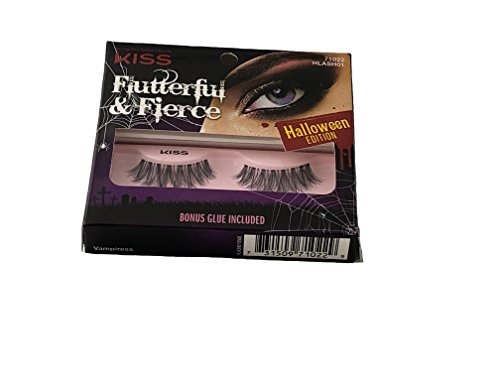 Eye Lashes Flutterful & Fierce Halloween Edition Kiss with Bonus Glue Included. Contact Lens Friendly Eyelashes. Choose one of the four models available (Vampiress) ()