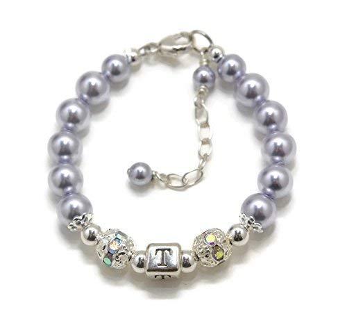 Little Girl Initial Bracelet Girls Personalized Jewelry Flower Girl Bracelet Pearl Baby Bracelet Little Girl Jewelry FREE Gift Box