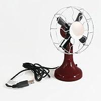 Retro USB Desktop Fan Adjustable Angle Burgundy Red Base