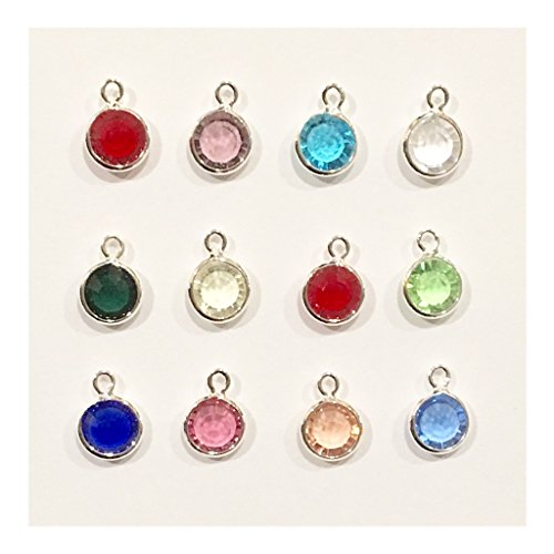 (Bulk 24 Pieces Real Crystal Birthstone Charms with Jump Rings, Valentine Charms, (2 of Each Month) )