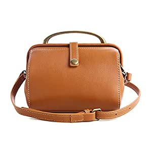 Women's Top-Handle Handbags Shoulder Bag Detachable Shoulder Strap Handmade Soft Leather New Creative Square Doctor Bag,A,18 * 12 * 13CM