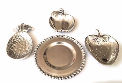 verb Vintage Fruit Pewter 4 Plates Assortment