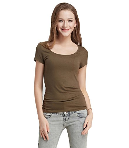 Liang Rou Women's Modal-Spandex Ribbed Stretch Scoop Neck T-Shirt Olive Green L