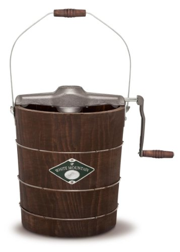 White Mountain Hand Cranked Ice Cream Maker with Appalachian Series Wooden Bucket, 4 Quart (PBWMIMH412-SHP)