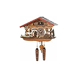 Quartz Cuckoo Clock Black Forest house with moving beer drinker and mill wheel, with music TU 4210 QMT HZZG