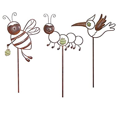 Decorative Garden Stakes. Enhance Your Abode with Whimsical Garden Critters-Distressed Copper Tone Metal for the Best Outdoor Décor. Patio, Flower Beds, Planters & Pots. Set of 3: Bee, Insect & Bird.