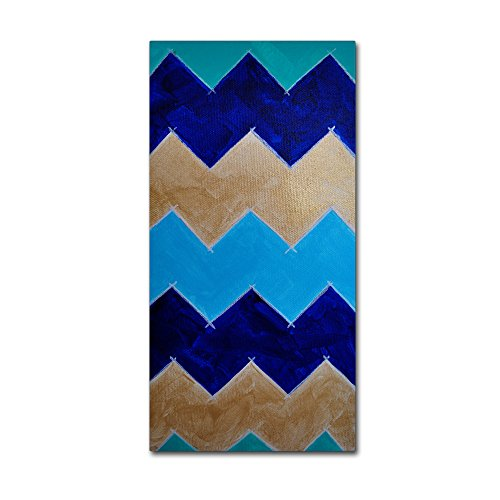 "picture of Trademark Fine Art Blue and Gold Chevron by Nicole Dietz Hanging Art Piece, 16""x32"""