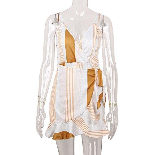 femme Robe Bandage Sfit� Soirée Robes Pour De Jaune Casual Fille Manches Sans Cocktail Bal Mariage À pwzUdIxz