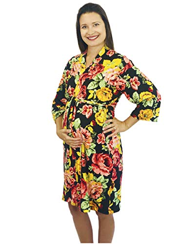 Aspen Robe - Aspen Lane Maternity Labor Delivery Robe Hospital Bag Must Have (Black Floral, S/M)
