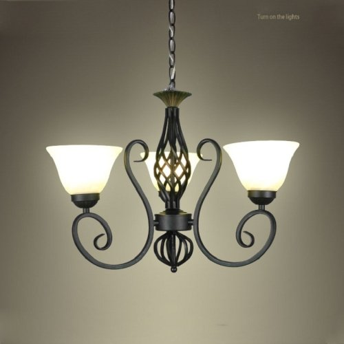 Wrought Iron Chandelier 14 Light (LightInTheBox Vintage Painting Finish Pendant Light LED Chandelier Wrought Iron Creative European-Style Decorative Lighting Lamps for Kitchen, Dining Room Home Color=Black)