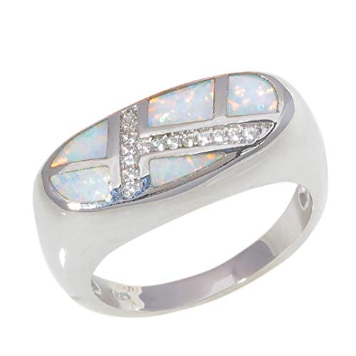 MARRLY.H Created White Blue Fire Opal Cubic Zirconia Silver Plated for Women Jewelry Engagement Ring White 12