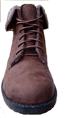 Brown Fourrure En Bottes Dames 6 5 Pour Up Col Taille Lace 4 3 8 7 Femmes Hiker Fausse De 4BwRxqU