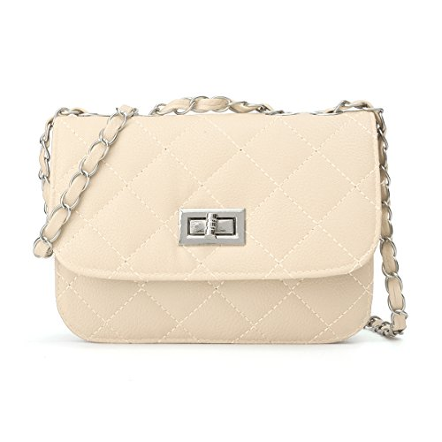 quilted crossbody purse beige - 1