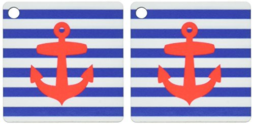 3dRose Retro Nautical Red Anchor with navy blue sailor stripe pattern - French Breton stripes - Key Chains, 2.25 x 4.5 inches, set of 2 (kc_57479_1)