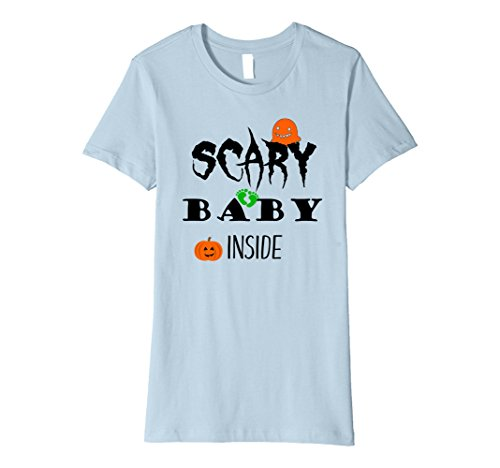 Womens Scary Baby Inside Halloween Maternity Shirts Costume Small Baby Blue (Early Pregnancy Halloween Costumes)