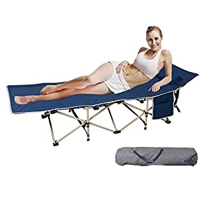 Dporticus Lightweight Tent Camping Cot Folding Bed with Strage Bag,Carry Bag and Pillow for Adult and Kids,Indoor,Outdoor,Camping