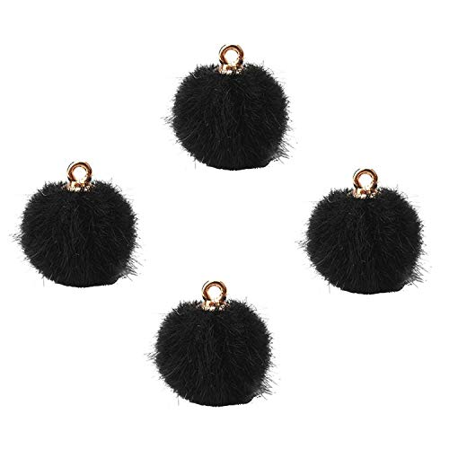 10 Pcs Lot 1816mm Plush Ball Charms Hairball Gold Navy Blue DIY Earring Jewelry Accessories Making,Black