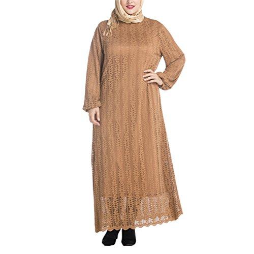 Zhuhaitf Musulmans À La Mode Des Robes De Islamic Abaya Caftan Dentelle Robe Robes Pour Les Femmes, Plus Khaki Taille