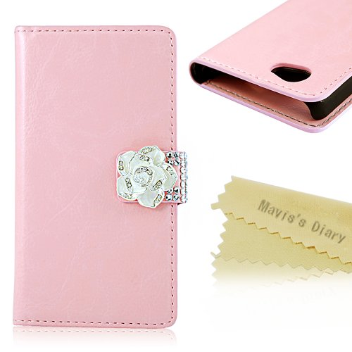 Mavis's Diary patent PU Leather Wallet Type with Crystal Camellias Magnetic Snap Flip Case Cover for Sony Xperia Z1 Compact (Z1 Mini) with Soft Clean Cloth (Pink)