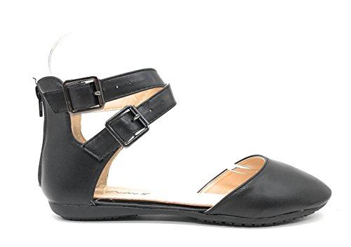 Blaue Berry EASY21 Frauen Casual Flats Ballett Knöchelriemen Mode Schuhe Schwarz 39