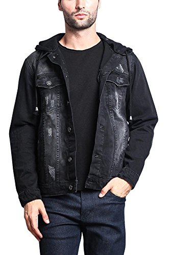 (Victorious Hoodie Layered Distressed Denim Jacket with Removable Hood DK109 - Black - Medium - EE1F)