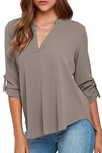 YMING Women Casual Chiffon Blouse Summer V Neck Solid Color Shirt Top Gray S