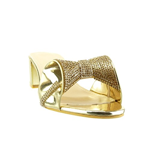 Angkorly - Chaussure Mode Sandale Tong slip-on femme noeud papillon strass diamant Talon haut bloc 5 CM - Or