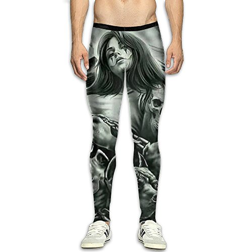 (Sugar Skull Stretchy Compression Pants/Running Tights Cycling Pants Runners Side Pocket)