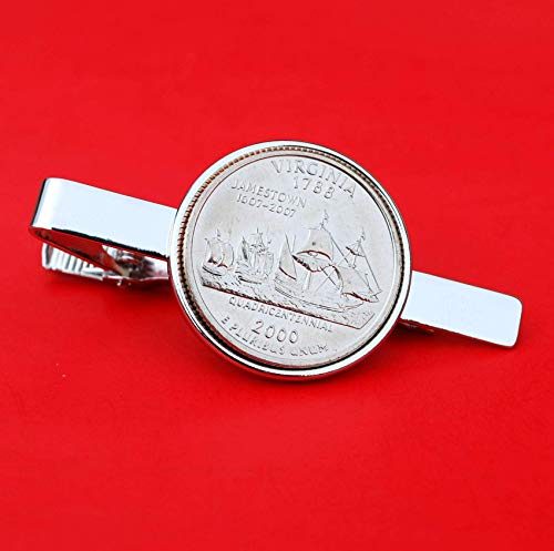 (US 2000 Virginia State Quarter BU Uncirculated 25 Cent Coin Silver Plated Tie Clip Clasp NEW)