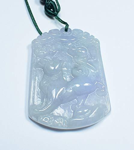 - gojade Certified Lavender Green Natural A Jade Jadeite Pendant Dog Yuan Bao 招财狗 701096