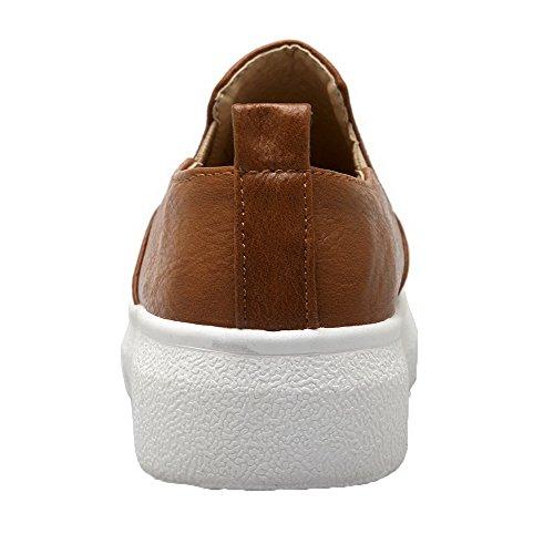Amoonyfashion Femmes Talons Bas Pu Polka-dots Pull-on Pompes-chaussures Jaune