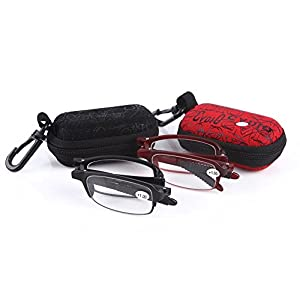 SOOLALA 2sets Mini TR90 Folding Reading Glasses with Clip Holder Zipper Case 7 Strengths, +1.0D