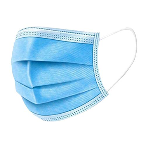 Beauteye Adults Unisex Blue+White Combination Disposable Three-Layer Non-Woven Windproof Dustproof Anti Fog Anti-Pollen Allergy Face Safety Protective Cover Multi Optional (200 PCS, Blue+White)