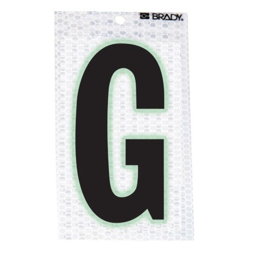 Brady 3020-G, 105588 Glow-In-The-Dark/Ultra Reflective Letter - G, 15 Packs of 10 pcs