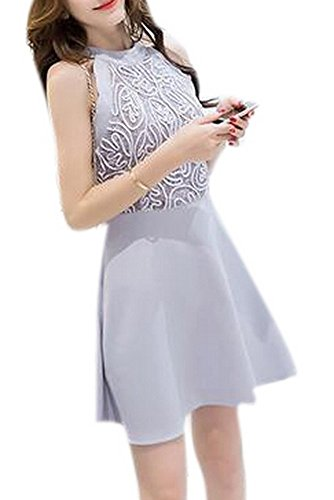 Autumn Lace Hollow Out Slim Party Dresses(Grey) - 2