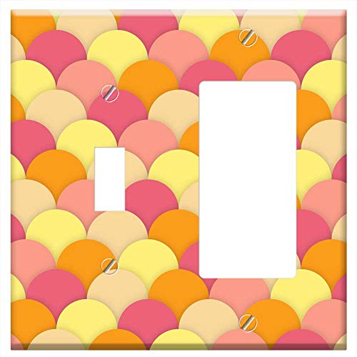 (1-Toggle 1-Rocker/GFCI Combination Wall Plate Cover - Scallops Background Wallpaper Texture Square)