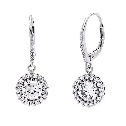 MIA SARINE Round Cubic Zirconia Halo Dangling Drop Leverback Bridal Gift Earrings for Women in Rhodium Plated 925 Sterling Silver