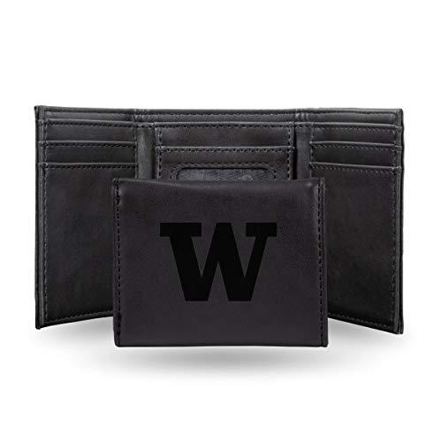 (Rico Industries NCAA Washington Huskies Laser Engraved Tri-Fold Wallet, Black)
