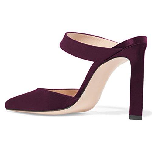 Muli Sottolineato Ha Raso Donne Di Infilare Dello Talloni Scarpe Fsj Modo Alti Noi 4 Scuro Dimensioni Sandali Rosso Stiletto 15 Delle 7wYqgf