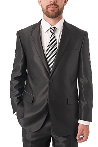 Chama Men's Black Shark-skin Classic Fit Italian Styled Two Piece Suit (40S US/34W)