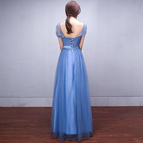 moichien dama de fuera de Mujeres Fiesta honor Multi larga hombro vestido estilo Maxi graduaci malla de de del Line noche A Organza Ai 4Owq4