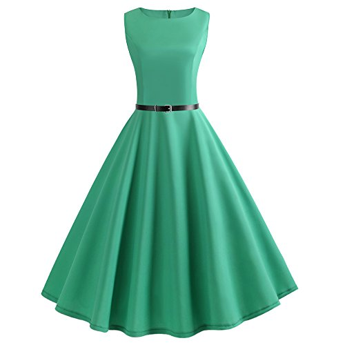(WOCACHI Women Vintage 1950s Retro Rockabilly Prom Dresses Cap-Sleeve)