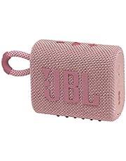 JBL GO 3 draadloze, draagbare Bluetooth-luidspreker met geïntegreerde lus voor onderweg, USB C-oplaadkabel, roze