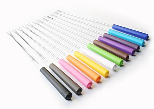 Artestia Stainless Steel Fondue Forks with Heat Proof Handle in Vivid Colors (Set of 12), 9.6 inch by Artestia