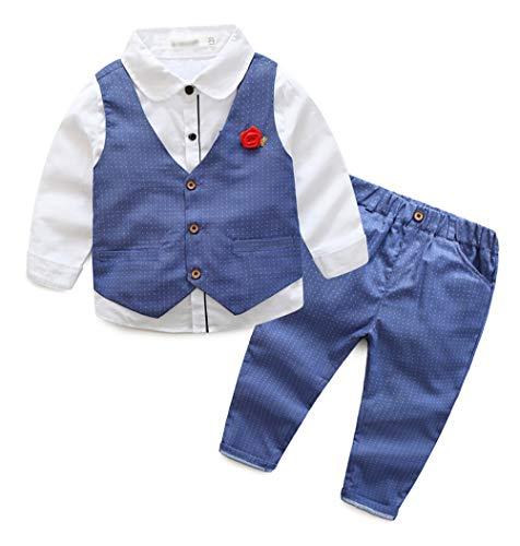 ULEEMARK Bambini Bambino Ragazzo 3 Pezzi Sets Formale Camicia Gilet Pantaloni 1