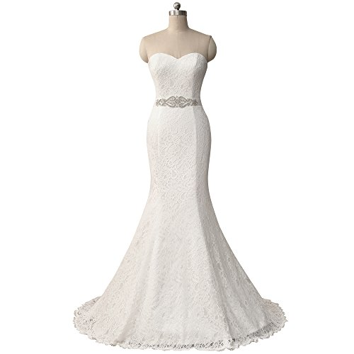 HUICHENGYAO Womens Sweetheart Sleeveless Lace Wedding Dress Evening Mermaid Gown