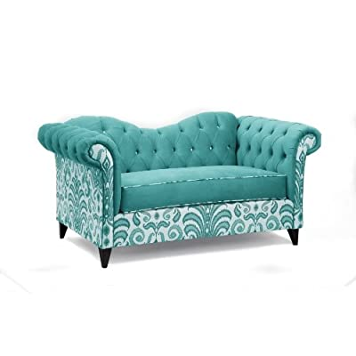 Loni M. Designs Ginger Settee, Light Blue