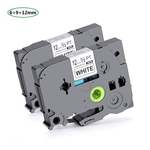 P-Touch Label Tape TZ TZ231 TZ-231 TZe231 Standard Laminated, Black on White, 0.47 Inch (12mm) x 26.2 Feet (8m) Compatible Brother P-Touch,2 Pack